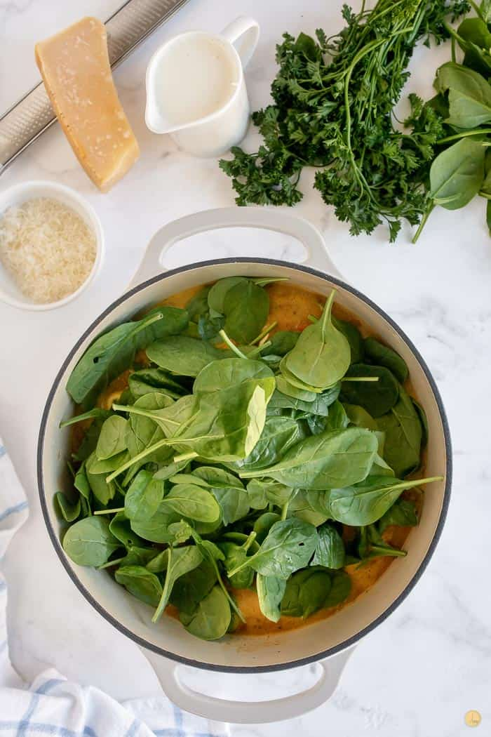 spinach in soup pot