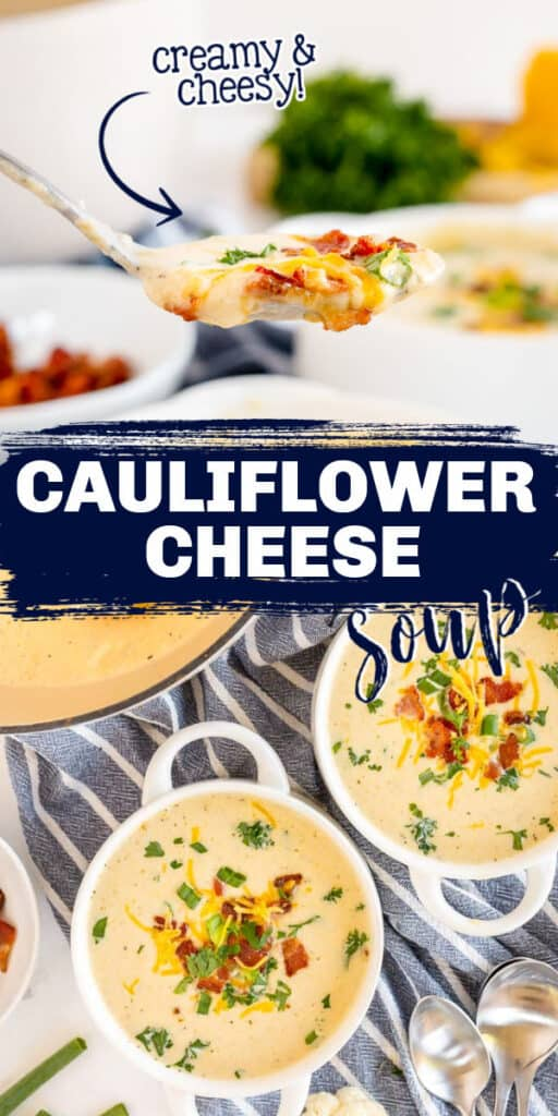 """collage of soup pictures with text """"cauliflower soup"""""""