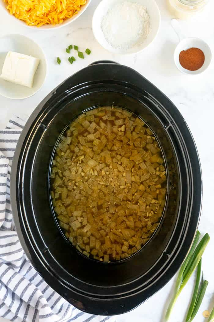 cooked soup in slow cooker