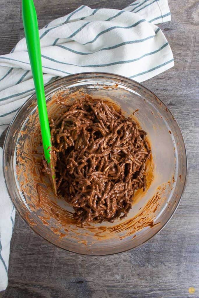 chow mein noodles in a bowl with chocolate