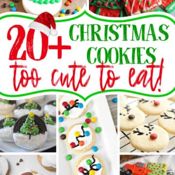 """collage with text """"20+ Christmas Cookies too cute to eat!"""""""