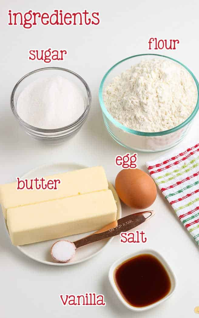 labeled picture of sugar cookie dough ingredients