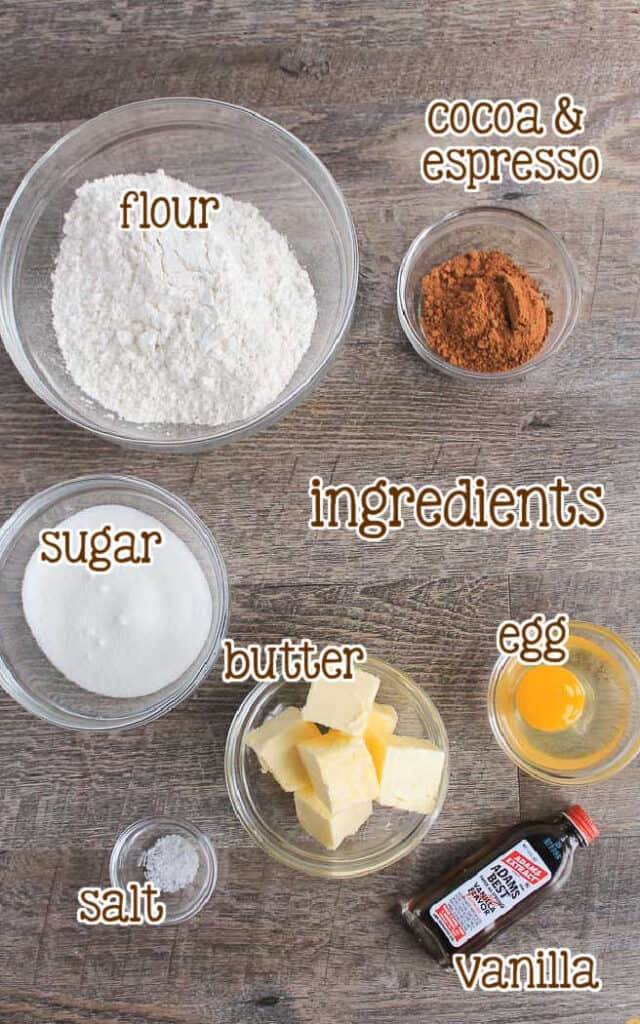 labeled picture of icebox cookie ingredients