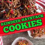 "collage with text ""reindeer haystack cookies"""