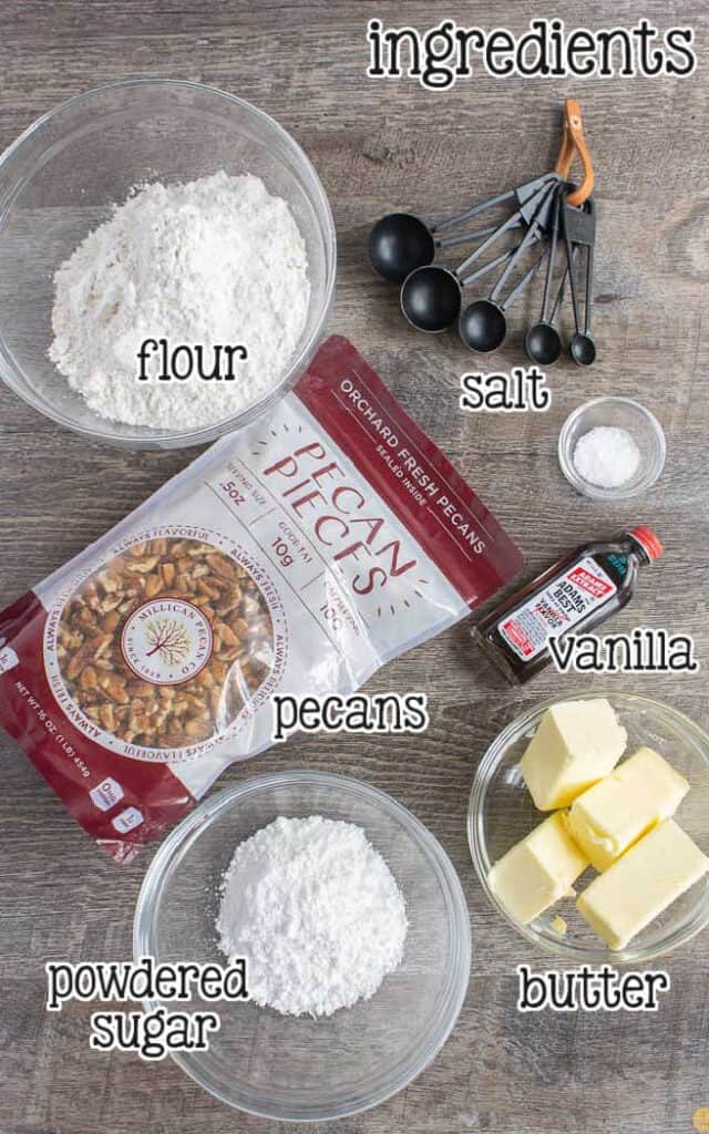 labeled picture of pecan snowball cookie ingredients