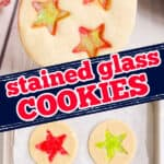 """collage of cookies with text """"stained glass cookies"""""""