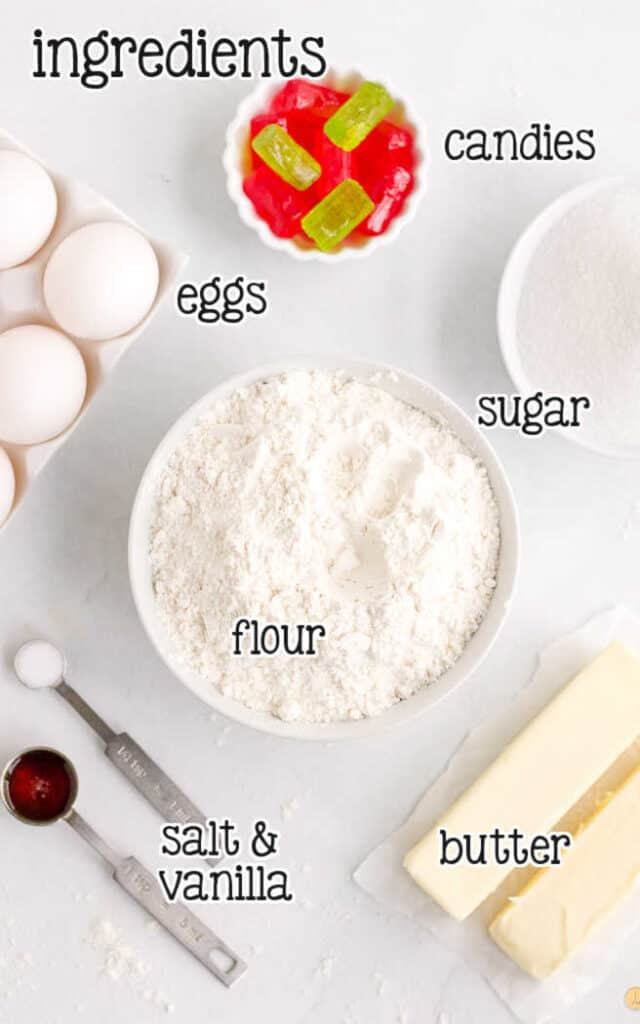 labeled picture of cookie ingredients