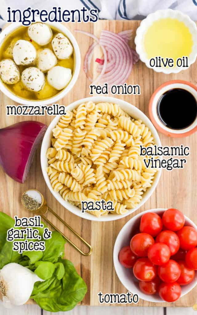 labeled picture of pasta salad ingredients
