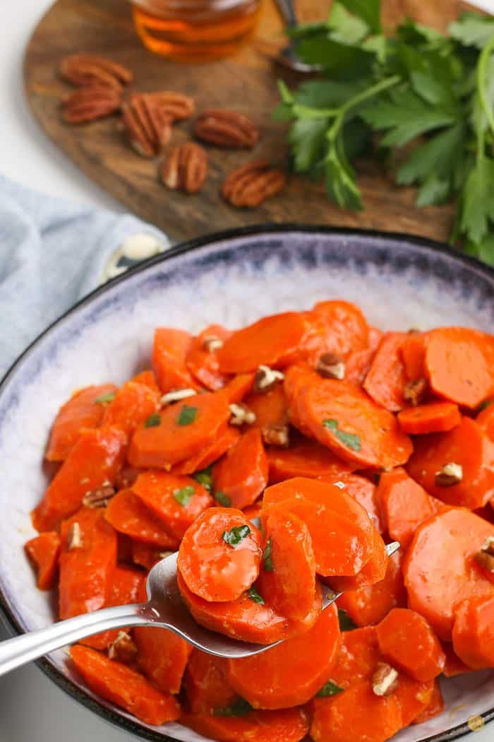bowl of cooked carrots
