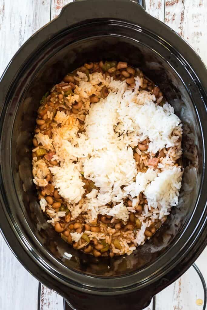 rice and soup in crockpot