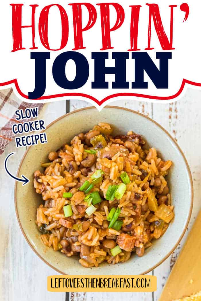 """peas and rice with text """"hoppin john"""""""