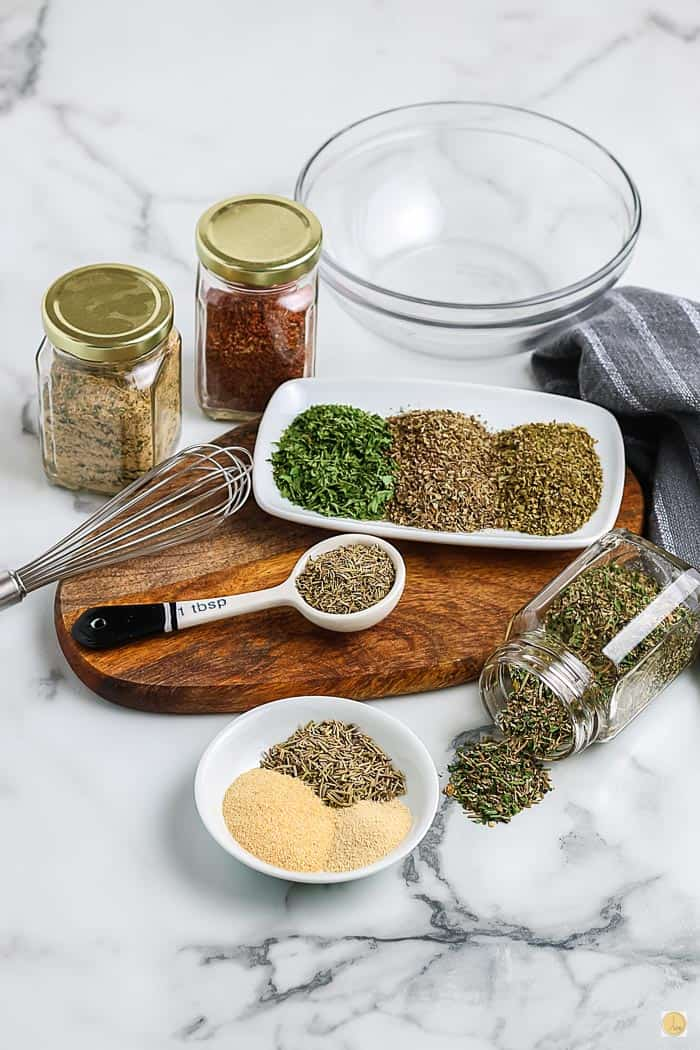 spices for seasoning mix on a platter
