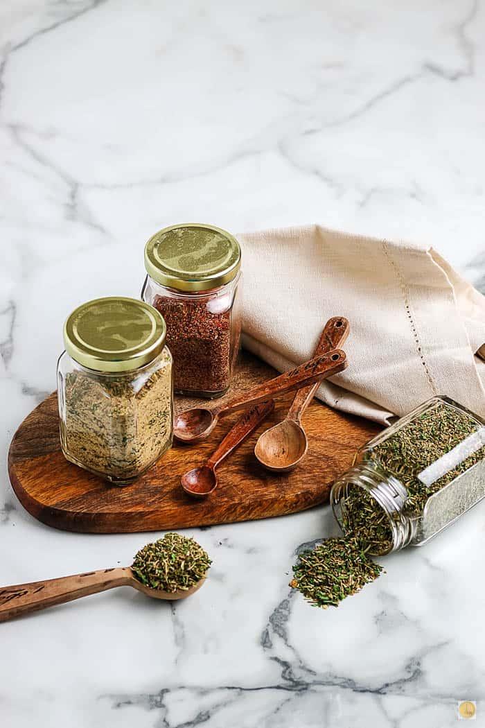 spice mixes on a platter