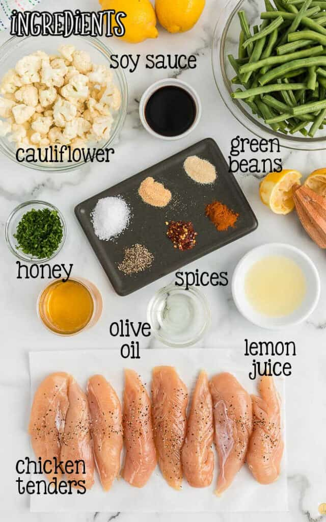 labeled picture of lemon chicken dinner