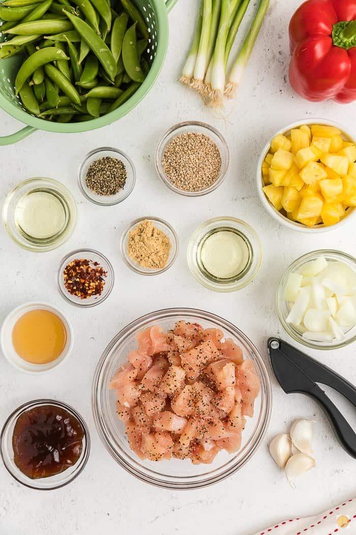 ingredients in individual bowls