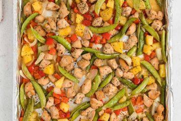 sheet pan of chicken and veggies