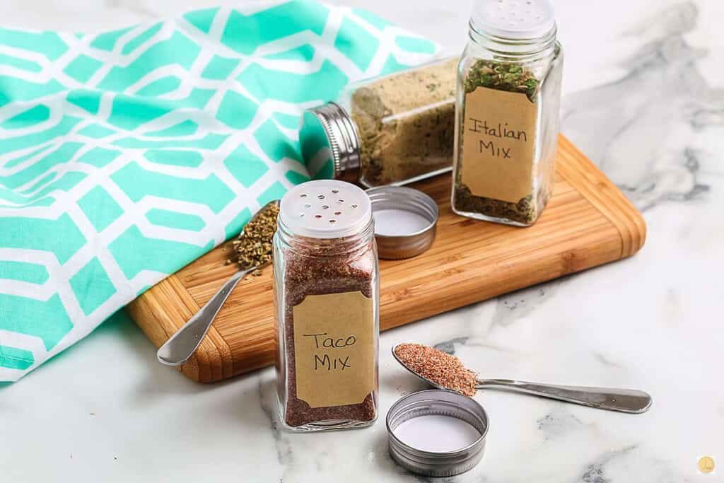 horizontal view of taco spice jar