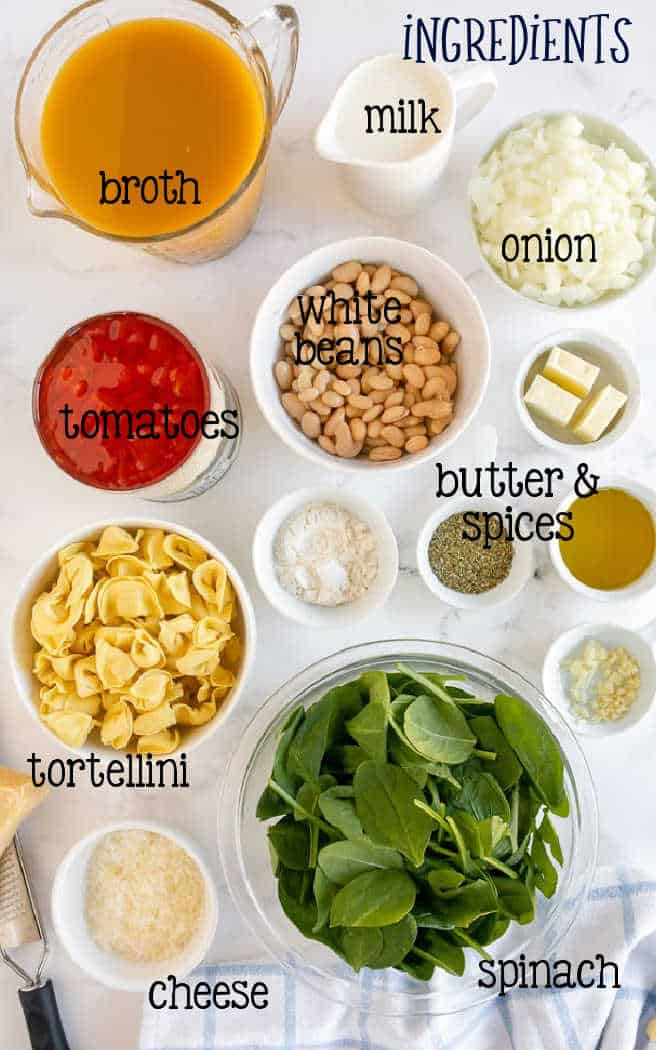 labeled picture of ingredients in bowls