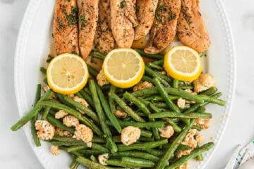 plate of chicken and green beans