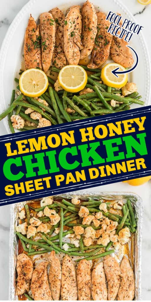 """collage of chicken with text """"Lemon honey chicken sheet pan dinner"""""""
