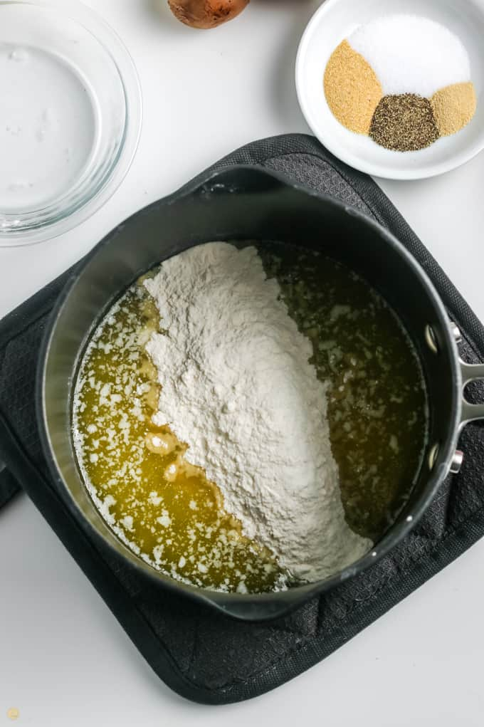 flour and butter in a pot
