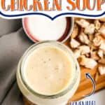 "jar of soup with text ""cream of chicken soup"""