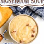 """bowl of soup with text """"cream of mushroom soup"""""""