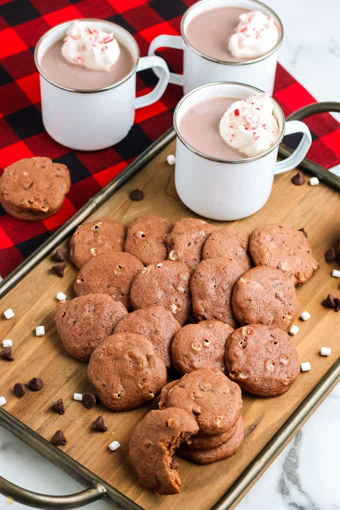 tray of cookies and hot cocoa