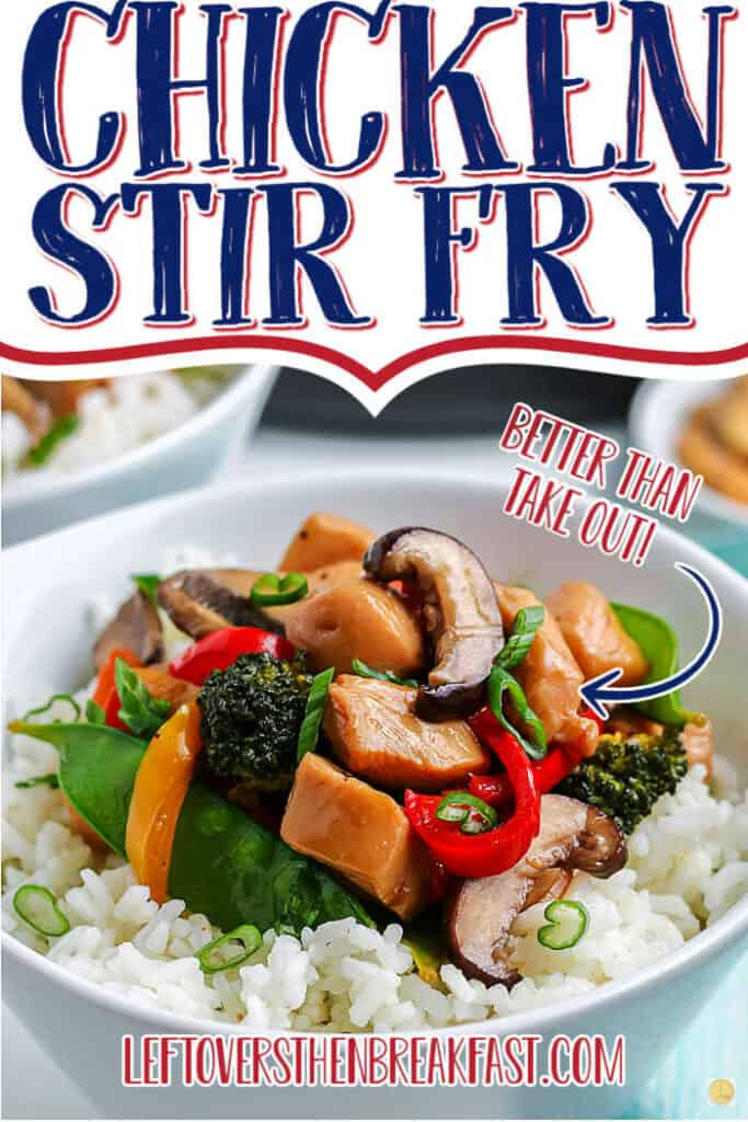 """bowl of stir fry with text """"chicken stir fry"""""""