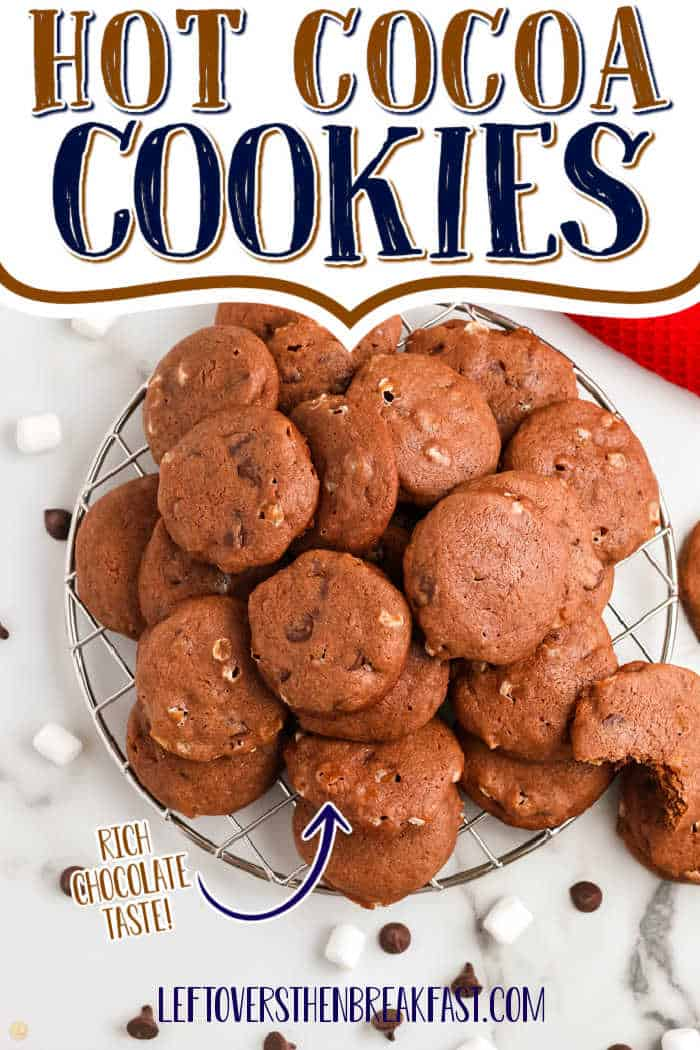 """chocolate cookies with text """"hot cocoa cookies"""""""
