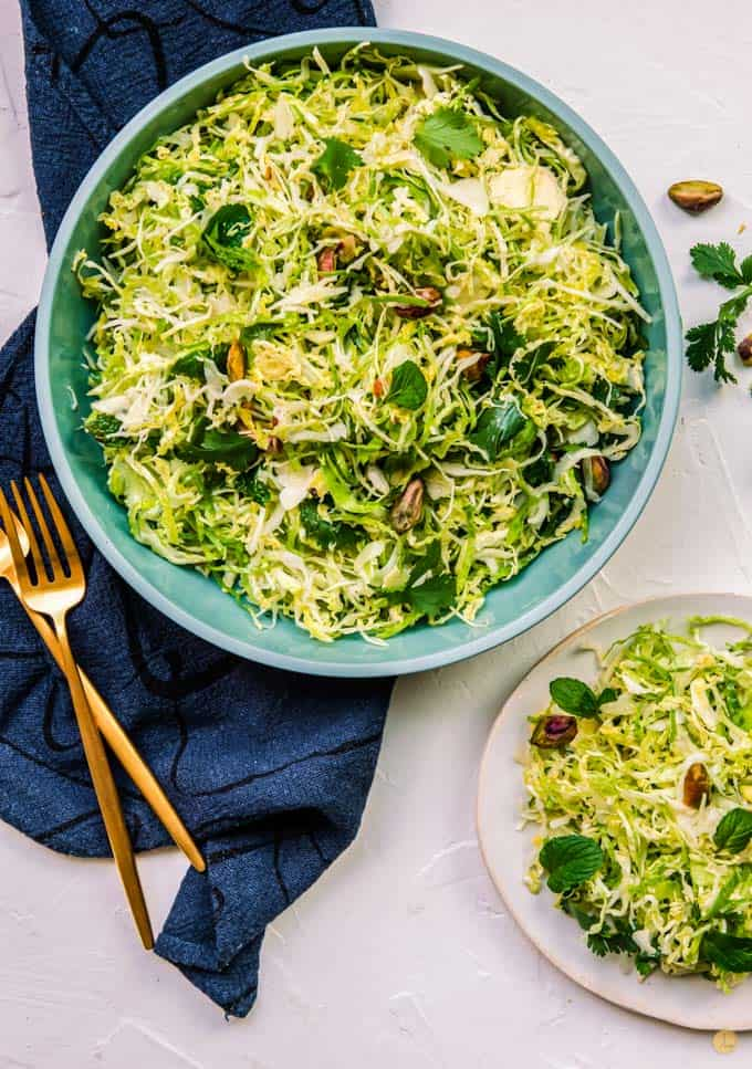 two bowls of sprouts slaw