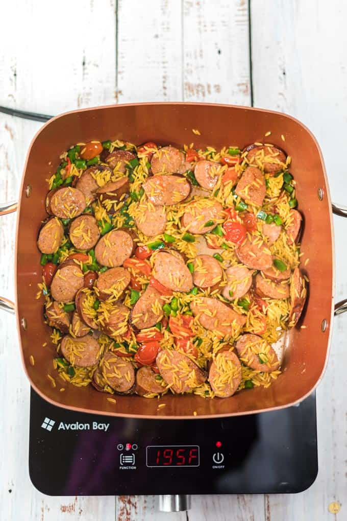 sausage and orzo in pan