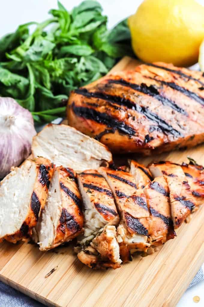 sliced chicken on a cutting board