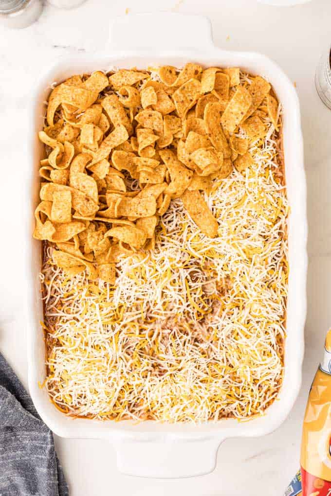 fritos and cheese in dish