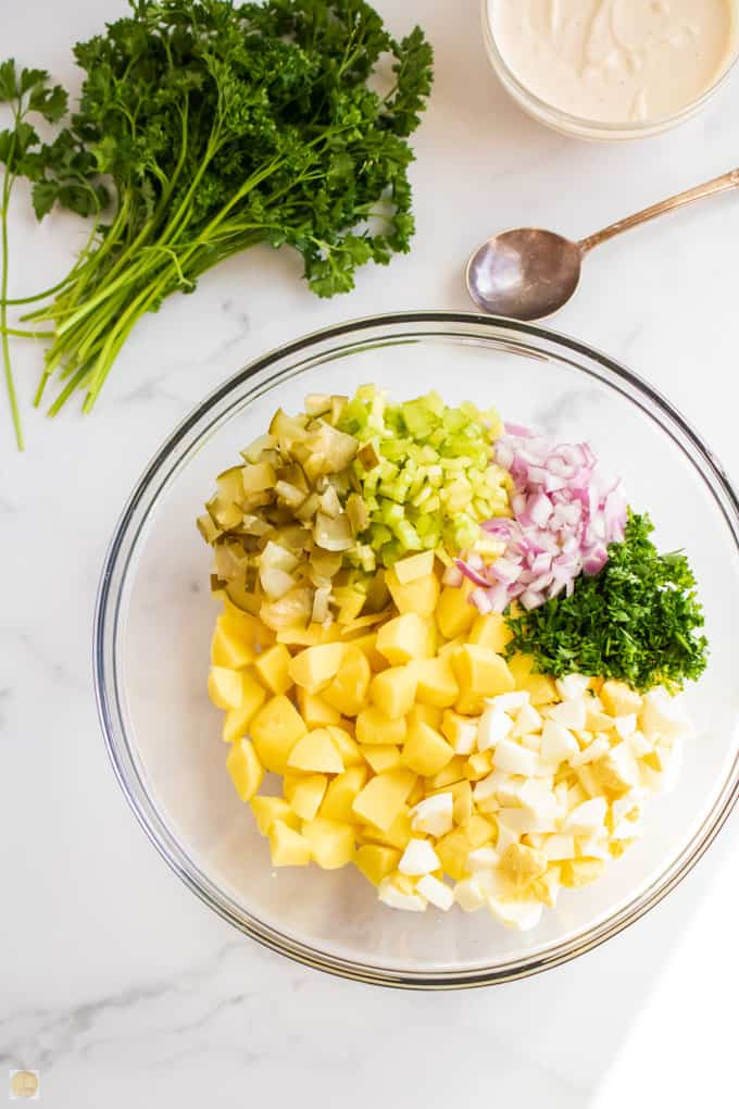 potato salad ingredients in a bowl