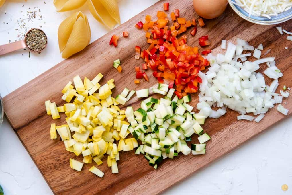 chopped vegetables on a cutting board