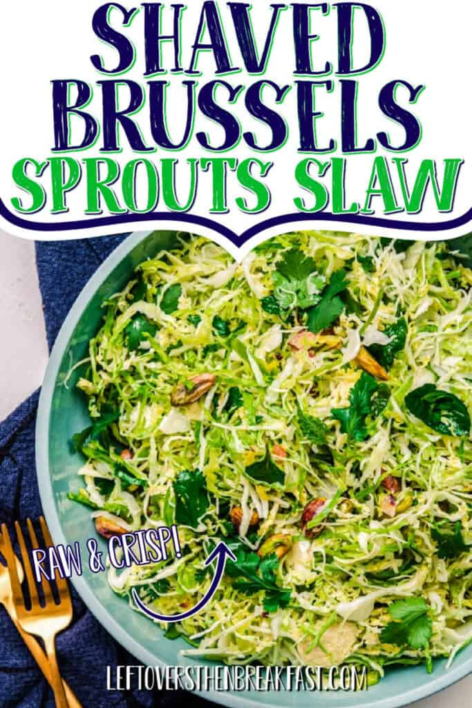 "slaw with text ""shaved sprouts slaw"""