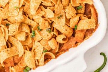 casserole dish with fritos