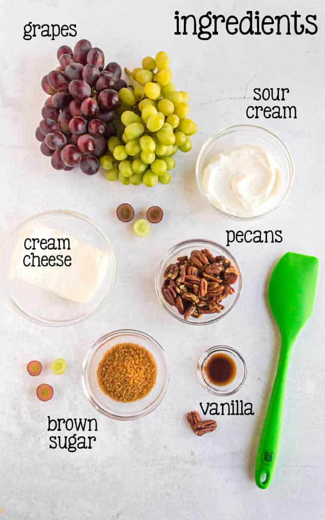 labeled picture of grape salad ingredients