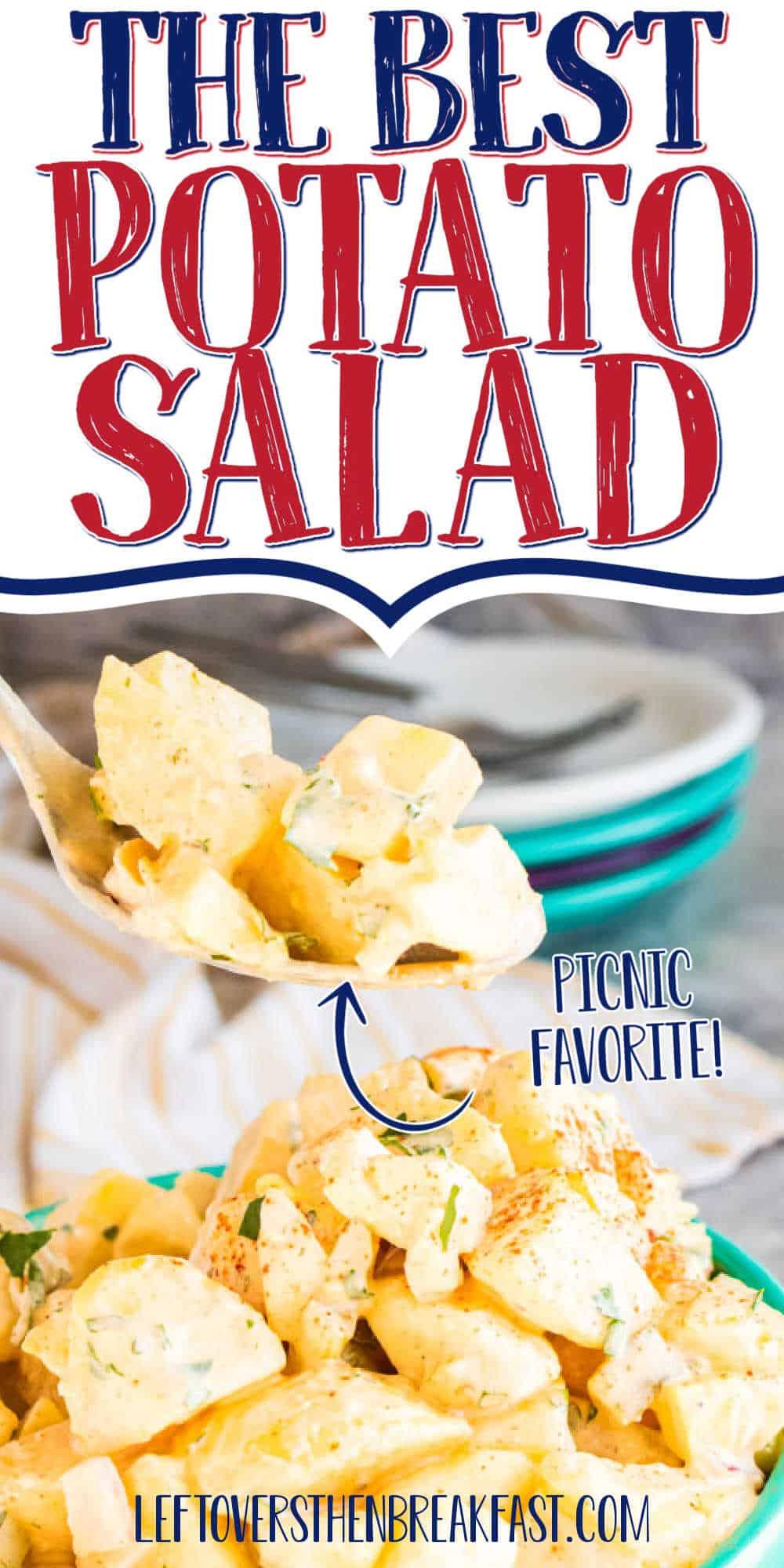"spoon of potato with text ""the best potato salad"""