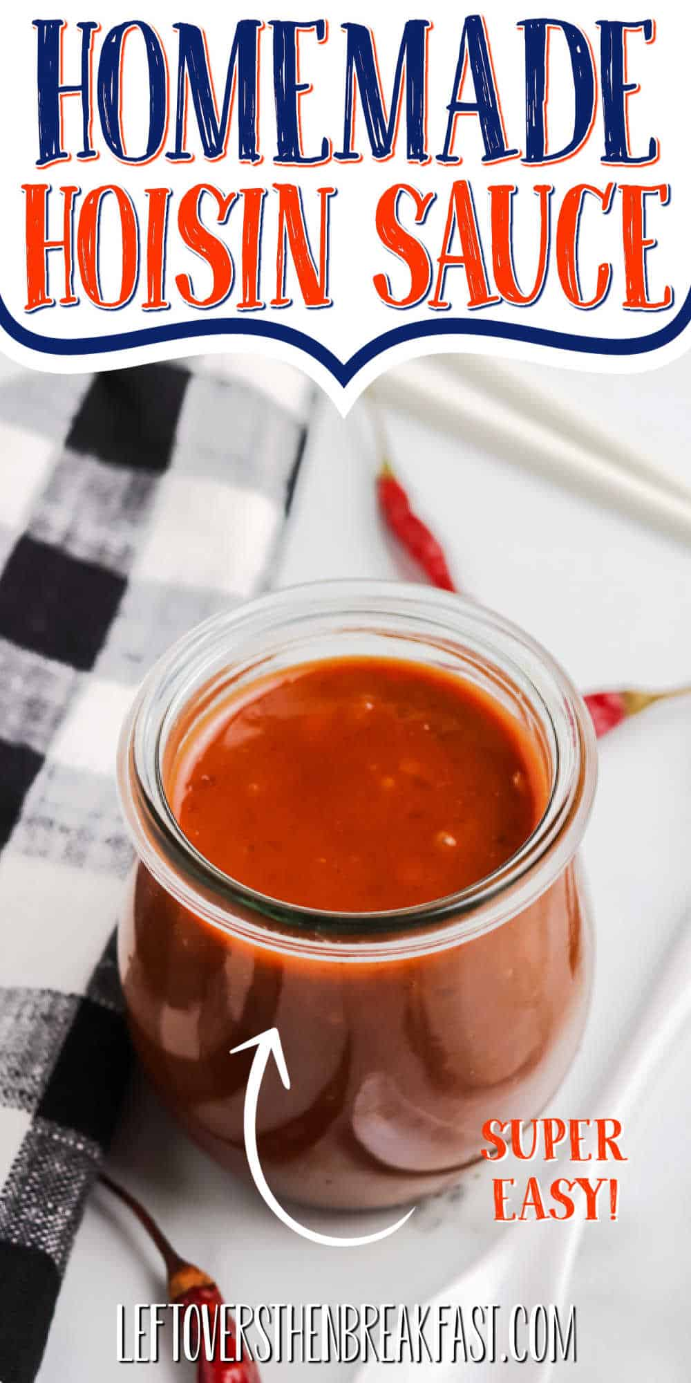 "jar of sauce with text ""homemade hoisin sauce"""