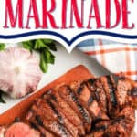 "cut steak with text ""best ever steak marinade"""