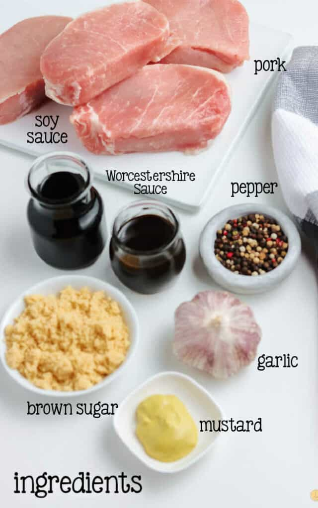 labeled picture of pork marinade ingredients