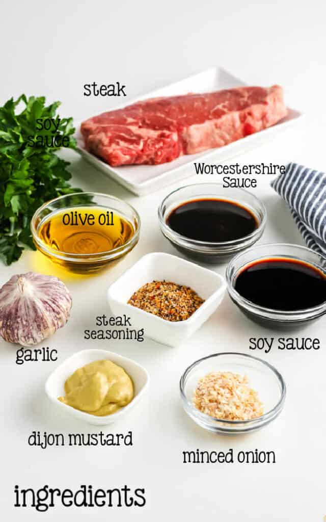 labeled picture of steak marinade ingredients
