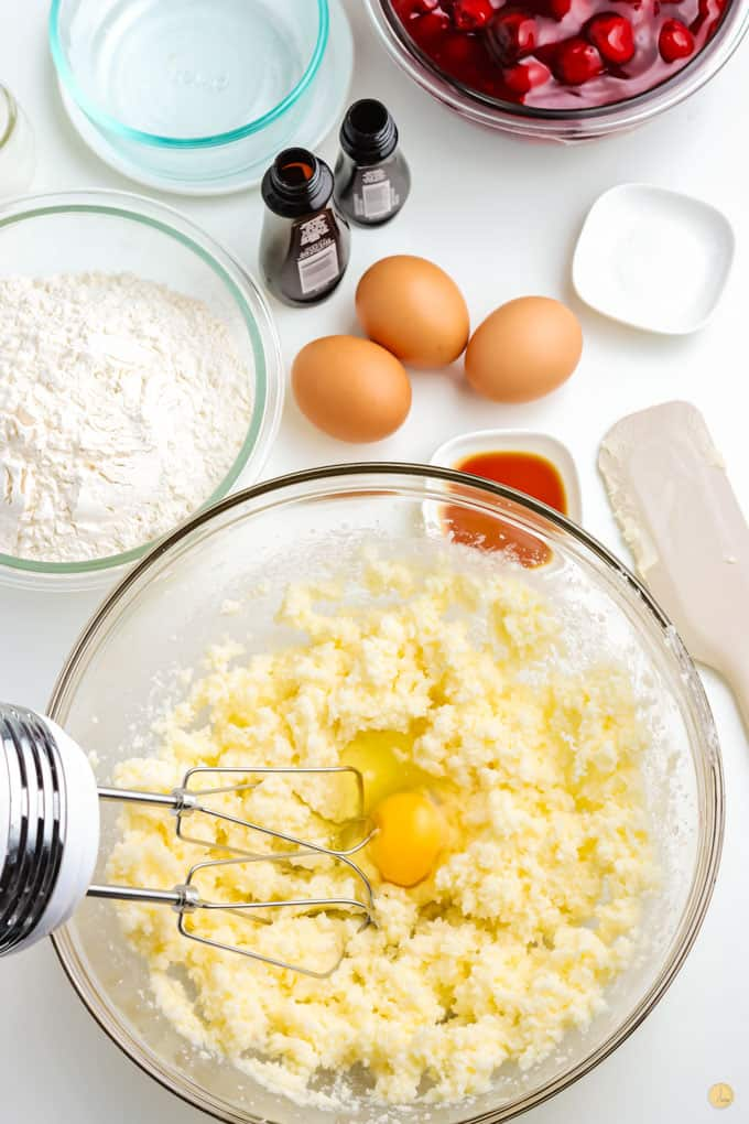 eggs and butter in mixing bowl