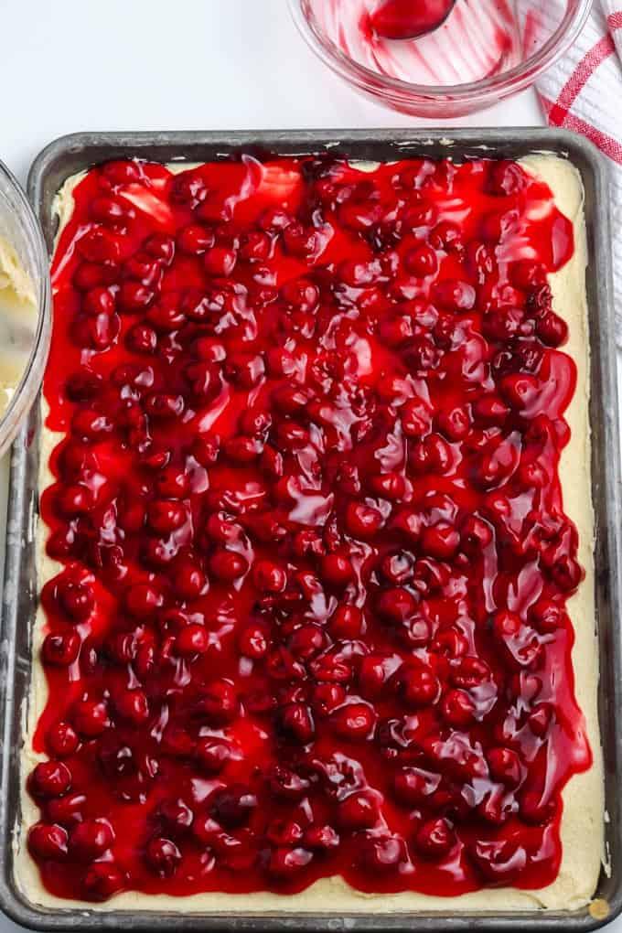 cherry pie filling on batter