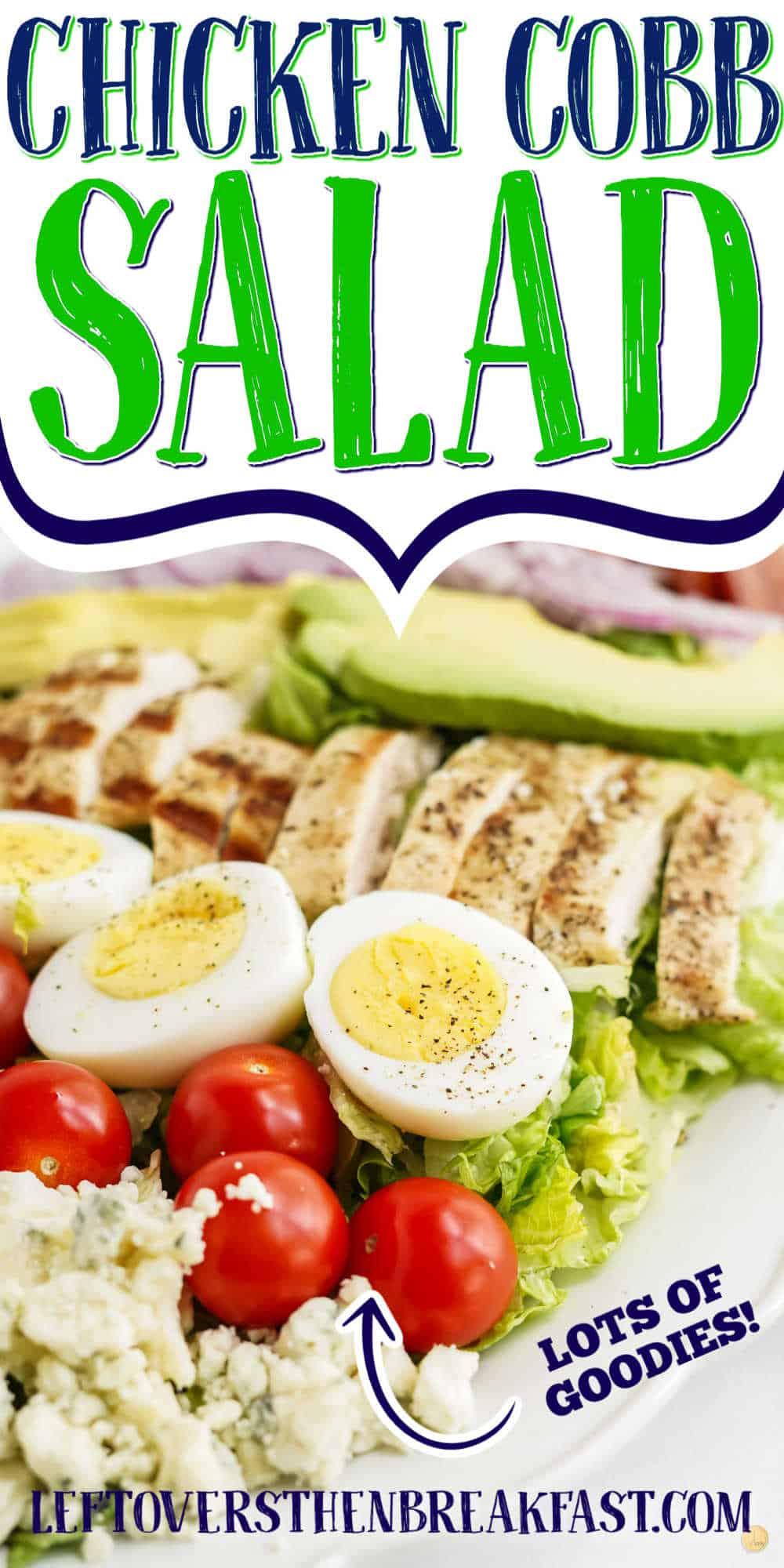 """chicken salad with text """"chicken cobb salad"""""""