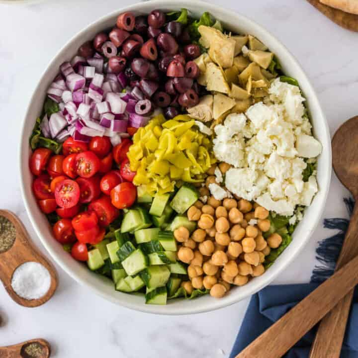 overhead picture of bowl of chopped salad
