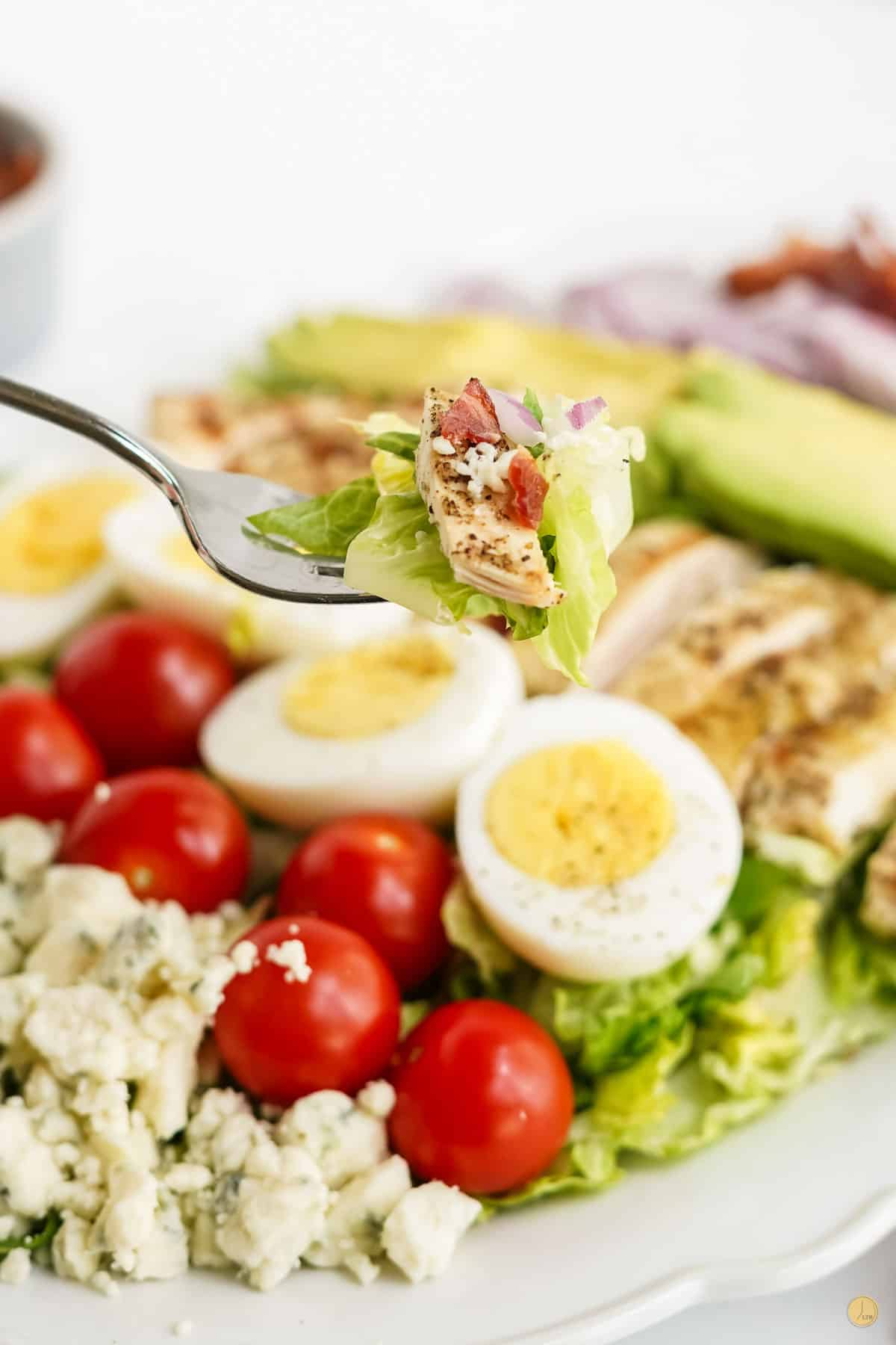 fork of salad ingredients