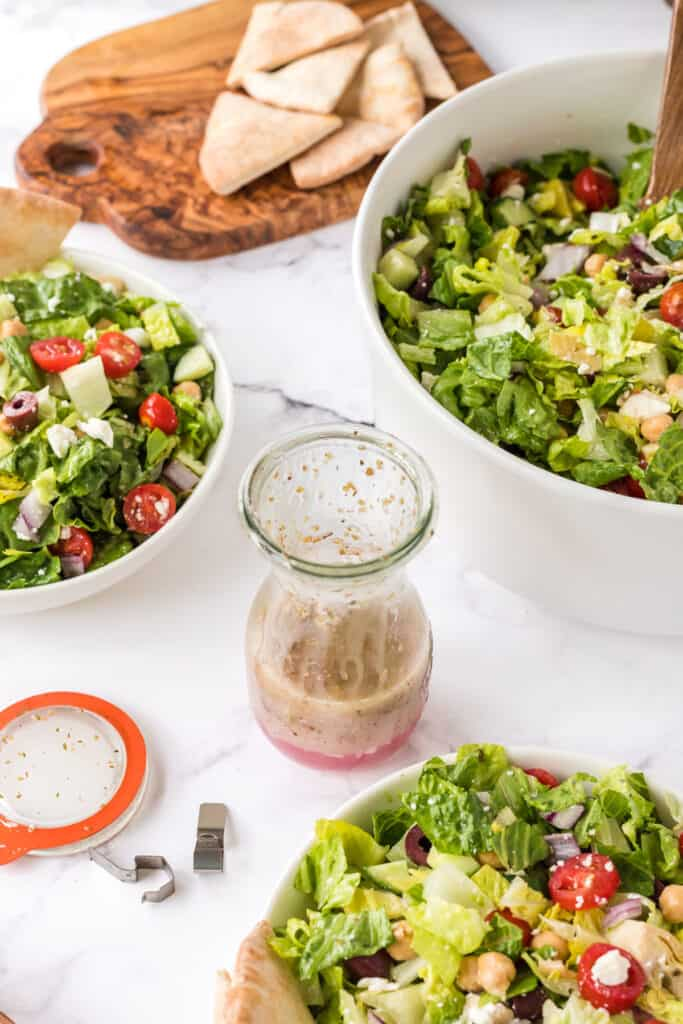 salad and bottle of dressing